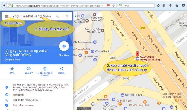 In bản đồ từ google map