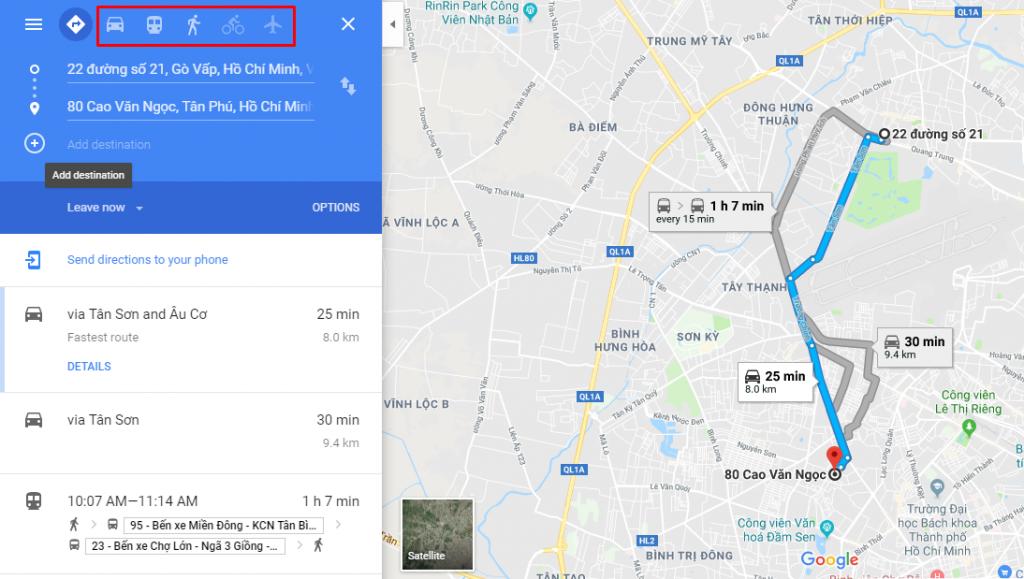 Tìm đường đi bằng google map