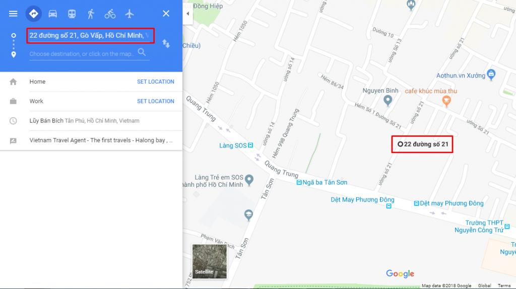 Cách tìm đường đi trên google map