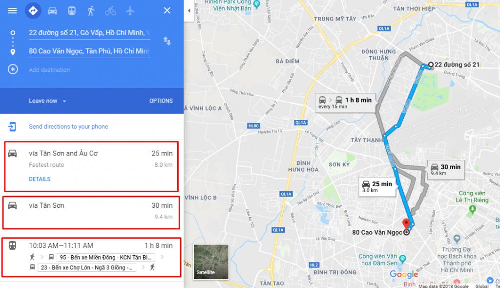 Cách tìm đường đi ngắn nhất tren google map